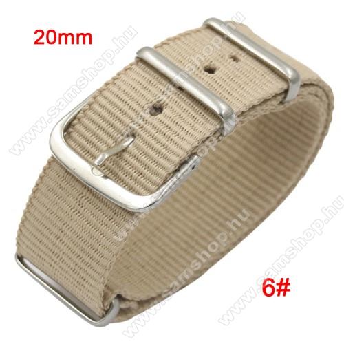 SAMSUNG SM-R600 Galaxy Gear SportOkosóra szíj - szövet, 20mm széles - BÉZS - SAMSUNG SM-R600 Galaxy Gear Sport / SAMSUNG SM-R810NZ Galaxy Watch 42mm / SAMSUNG SM-R720 Gear S2 Classic