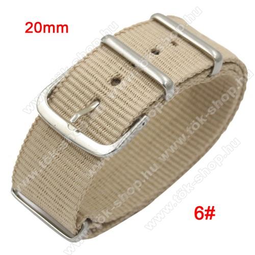 Okosóra szíj - szövet, 20mm széles - BÉZS - TELESZKÓP NÉLKÜLI, PULZUSMÉRŐ NEM HASZNÁLHATÓ VELE! - SAMSUNG Galaxy Watch 42mm / Xiaomi Amazfit GTS / HUAWEI Watch GT / SAMSUNG Gear S2 / HUAWEI Watch GT 2 42mm / Galaxy Watch Active / Active  2 / Galaxy Gear S