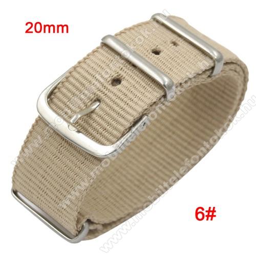 Okosóra szíj - szövet, 20mm széles - BÉZS - TELESZKÓP NÉLKÜLI, PULZUSMÉRŐ NEM HASZNÁLHATÓ VELE! - SAMSUNG Galaxy Watch 42mm / Xiaomi Amazfit GTS / SAMSUNG Gear S2 / HUAWEI Watch GT 2 42mm / Galaxy Watch Active / Active 2