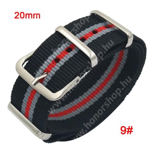 Okosóra szíj - szövet, 20mm széles - FEKETE / SZÜRKE / PIROS - SAMSUNG SM-R600 Galaxy Gear Sport / SAMSUNG SM-R810NZ Galaxy Watch 42mm / SAMSUNG SM-R720 Gear S2 Classic