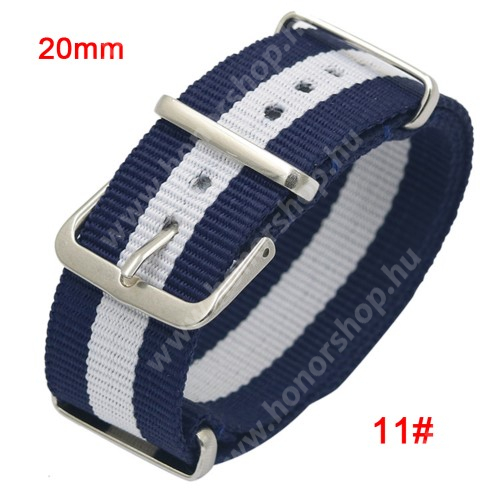 Okosóra szíj - szövet, 20mm széles - KÉK / FEHÉR - SAMSUNG SM-R600 Galaxy Gear Sport / SAMSUNG SM-R810NZ Galaxy Watch 42mm / SAMSUNG SM-R720 Gear S2 Classic