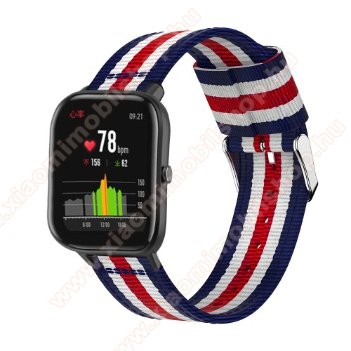 Okosóra szíj - szövet, 20mm széles - KÉK / FEHÉR / PIROS - SAMSUNG Galaxy Watch 42mm / Xiaomi Amazfit GTS / SAMSUNG Gear S2 / HUAWEI Watch GT 2 42mm / Galaxy Watch Active / Active 2