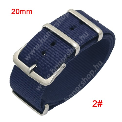 Okosóra szíj - szövet, 20mm széles - KÉK - SAMSUNG SM-R600 Galaxy Gear Sport / SAMSUNG SM-R810NZ Galaxy Watch 42mm / SAMSUNG SM-R720 Gear S2 Classic