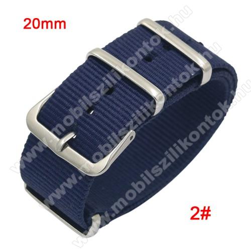 Okosóra szíj - szövet, 20mm széles - KÉK - TELESZKÓP NÉLKÜLI, PULZUSMÉRŐ NEM HASZNÁLHATÓ VELE! - SAMSUNG Galaxy Watch 42mm / Xiaomi Amazfit GTS / SAMSUNG Gear S2 / HUAWEI Watch GT 2 42mm / Galaxy Watch Active / Active 2