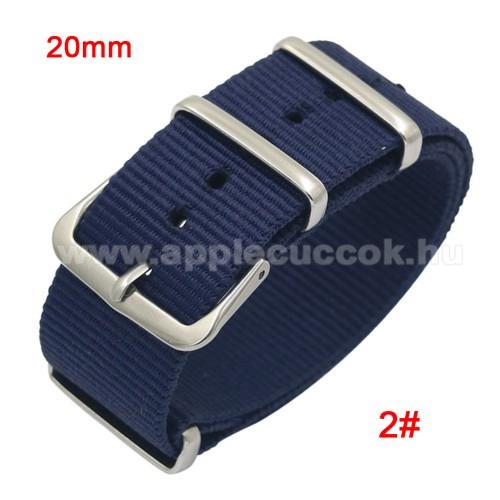 Okosóra szíj - szövet, 20mm széles - KÉK - TELESZKÓP NÉLKÜLI, PULZUSMÉRŐ NEM HASZNÁLHATÓ VELE! - SAMSUNG SM-R600 Galaxy Gear Sport / SAMSUNG SM-R810NZ Galaxy Watch 42mm / SAMSUNG SM-R720 Gear S2 Classic / HUAWEI Watch GT 2 42mm