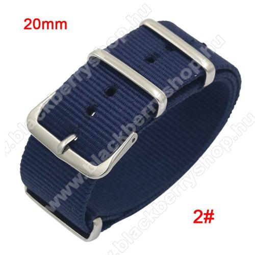 Okosóra szíj - szövet, 20mm széles - KÉK - TELESZKÓP NÉLKÜLI, PULZUSMÉRŐ NEM HASZNÁLHATÓ VELE! - SAMSUNG Galaxy Watch 42mm / Xiaomi Amazfit GTS / HUAWEI Watch GT / SAMSUNG Gear S2 / HUAWEI Watch GT 2 42mm / Galaxy Watch Active / Active  2 / Galaxy Gear Sp