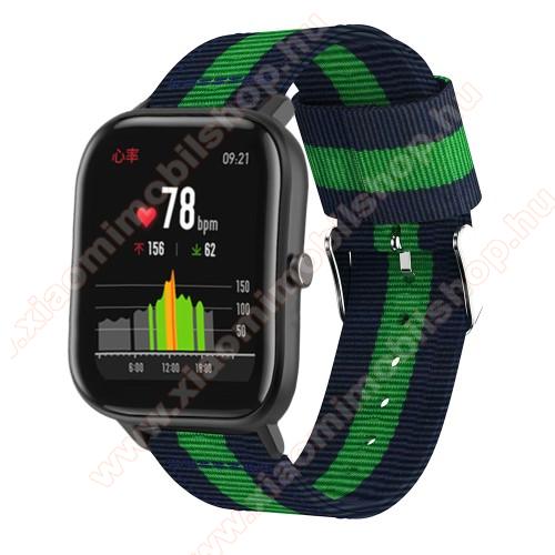 Okosóra szíj - szövet, 20mm széles - KÉK / ZÖLD - SAMSUNG Galaxy Watch 42mm / Xiaomi Amazfit GTS / SAMSUNG Gear S2 / HUAWEI Watch GT 2 42mm / Galaxy Watch Active / Active 2
