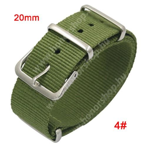 Okosóra szíj - szövet, 20mm széles - ZÖLD - SAMSUNG SM-R600 Galaxy Gear Sport / SAMSUNG SM-R810NZ Galaxy Watch 42mm / SAMSUNG SM-R720 Gear S2 Classic