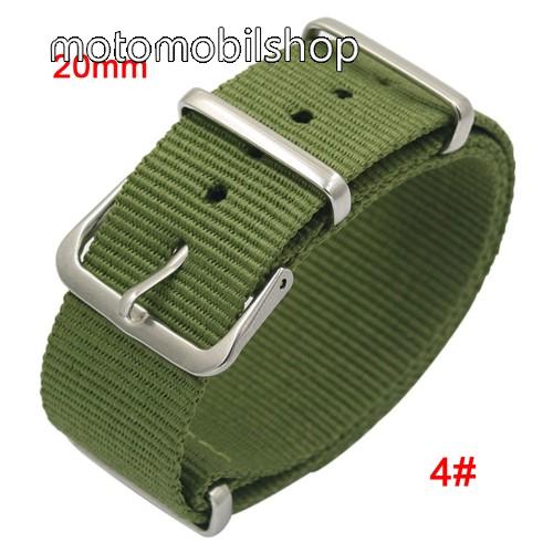 Okosóra szíj - szövet, 20mm széles - ZÖLD - TELESZKÓP NÉLKÜLI, PULZUSMÉRŐ NEM HASZNÁLHATÓ VELE! - SAMSUNG Galaxy Watch 42mm / Xiaomi Amazfit GTS / SAMSUNG Gear S2 / HUAWEI Watch GT 2 42mm / Galaxy Watch Active / Active 2