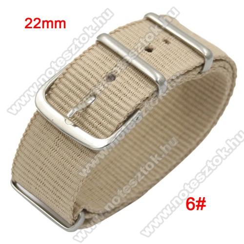 HUAWEI Honor MagicWatch 2 46mmOkosóra szíj - szövet, 22mm széles - BÉZS - TELESZKÓP NÉLKÜLI, PULZUSMÉRŐ NEM HASZNÁLHATÓ VELE! - SAMSUNG Galaxy Watch 46mm / SAMSUNG Gear S3 Classic / SAMSUNG Gear S3 Frontier