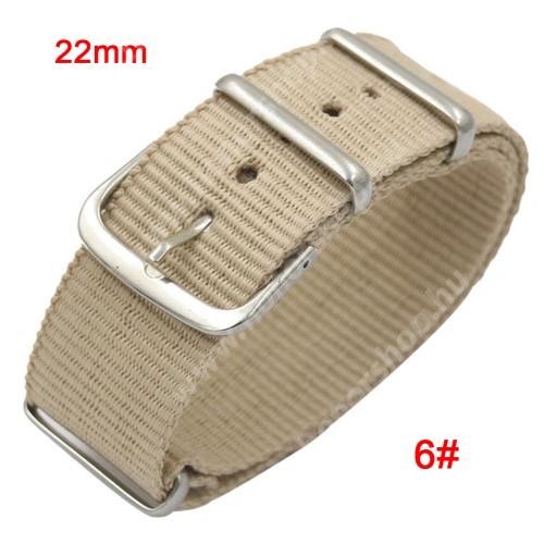 HUAWEI Watch GT 2 46mm Okosóra szíj - szövet, 22mm széles - BÉZS - TELESZKÓP NÉLKÜLI, PULZUSMÉRŐ NEM HASZNÁLHATÓ VELE! - SAMSUNG Galaxy Watch 46mm / SAMSUNG Gear S3 Classic / SAMSUNG Gear S3 Frontier