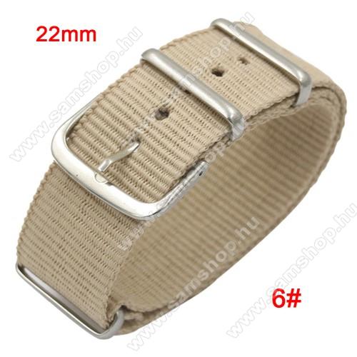 SAMSUNG Galaxy Watch3 45mm (SM-R845F)Okosóra szíj - szövet, 22mm széles - BÉZS - TELESZKÓP NÉLKÜLI, PULZUSMÉRŐ NEM HASZNÁLHATÓ VELE! - SAMSUNG Galaxy Watch 46mm / SAMSUNG Gear S3 Classic / SAMSUNG Gear S3 Frontier