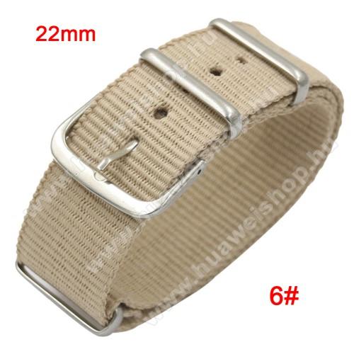 HUAWEI Watch GT 2eOkosóra szíj - szövet, 22mm széles - BÉZS - TELESZKÓP NÉLKÜLI, PULZUSMÉRŐ NEM HASZNÁLHATÓ VELE! - SAMSUNG Galaxy Watch 46mm / SAMSUNG Gear S3 Classic / SAMSUNG Gear S3 Frontier