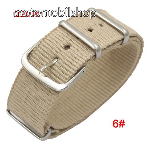 Okosóra szíj - szövet, 22mm széles - BÉZS - TELESZKÓP NÉLKÜLI, PULZUSMÉRŐ NEM HASZNÁLHATÓ VELE! - SAMSUNG Galaxy Watch 46mm / SAMSUNG Gear S3 Classic / SAMSUNG Gear S3 Frontier
