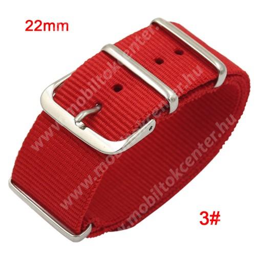 Okosóra szíj - szövet, 22mm széles - PIROS - SAMSUNG Galaxy Watch 46mm / SAMSUNG Gear S3 Classic / SAMSUNG Gear S3 Frontier