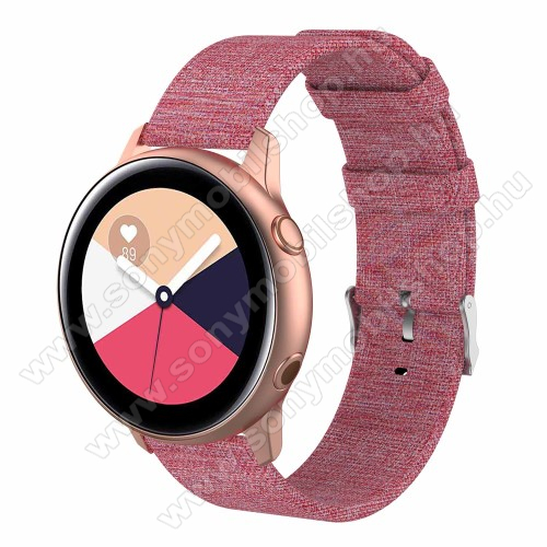 Okosóra szíj - szövet, 97mm + 89mm hosszú, 20mm széles - RÓZSASZÍN - SAMSUNG Galaxy Watch 42mm / Xiaomi Amazfit GTS / SAMSUNG Gear S2 / HUAWEI Watch GT 2 42mm / Galaxy Watch Active / Active 2