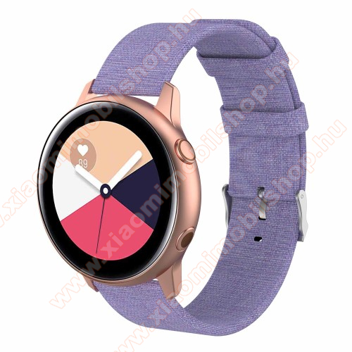 Okosóra szíj - szövet, 97mm + 89mm hosszú, 20mm széles - LILA - SAMSUNG Galaxy Watch 42mm / Xiaomi Amazfit GTS / SAMSUNG Gear S2 / HUAWEI Watch GT 2 42mm / Galaxy Watch Active / Active 2