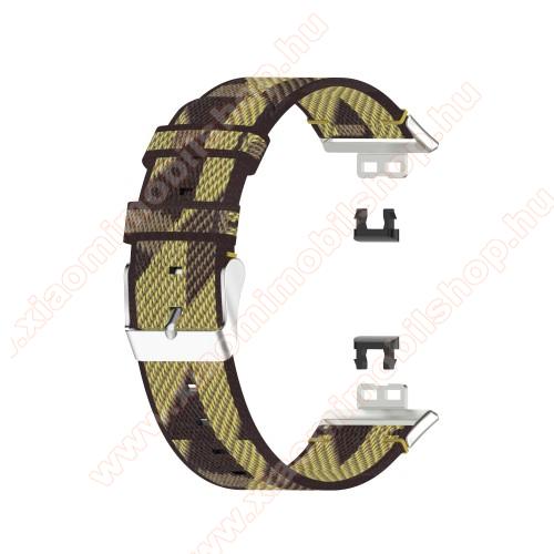 Okosóra szíj - szövet - CITROMSÁRGA - 117 + 92mm hosszú - HUAWEI Watch Fit