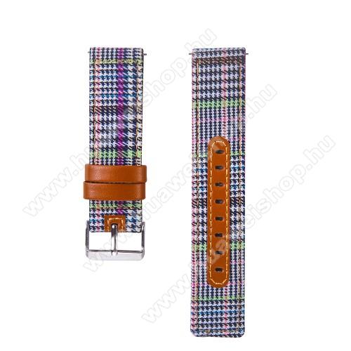 Okosóra szíj - szövet és marha bőr, 20mm széles - SZÍNES - SAMSUNG Galaxy Watch 42mm / Xiaomi Amazfit GTS / HUAWEI Watch GT / SAMSUNG Gear S2 / HUAWEI Watch GT 2 42mm / Galaxy Watch Active / Active  2