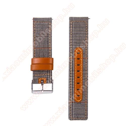 Xiaomi Amazfit GTR 42mmOkosóra szíj - szövet és marha bőr, 20mm széles - FEKETE / FEHÉR - SAMSUNG Galaxy Watch 42mm / Xiaomi Amazfit GTS / HUAWEI Watch GT / SAMSUNG Gear S2 / HUAWEI Watch GT 2 42mm / Galaxy Watch Active / Active  2