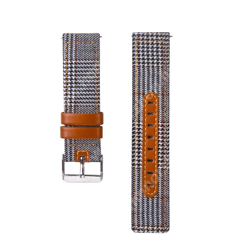 Okosóra szíj - szövet és marha bőr, 20mm széles - FEHÉR / FEKETE - SAMSUNG Galaxy Watch 42mm / Xiaomi Amazfit GTS / HUAWEI Watch GT / SAMSUNG Gear S2 / HUAWEI Watch GT 2 42mm / Galaxy Watch Active / Active  2
