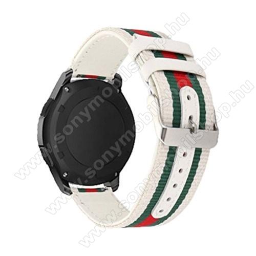 Okosóra szíj - szövet - FEHÉR / ZÖLD / PIROS - 22mm széles - SAMSUNG Galaxy Watch 46mm / SAMSUNG Gear S3 Classic / SAMSUNG Gear S3 Frontier