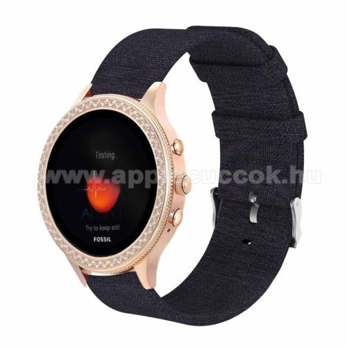 Okosóra szíj - szövet - FEKETE - 115 + 90mm hosszú, 18mm széles - Xiaomi Mi Watch / Fitbit Charge 3 / Fossil Gen 4 / HUAWEI TalkBand B5