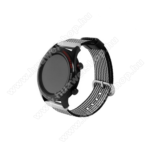Okosóra szíj - szövet - FEKETE / FEHÉR - 113mm + 81mm hosszú, 20mm széles - HUAWEI Watch GT / HUAWEI Watch Magic / Watch GT 2 46mm