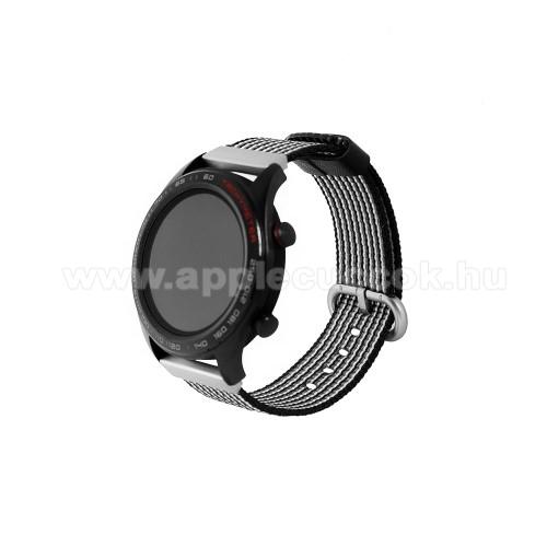 Okosóra szíj - szövet - FEKETE / FEHÉR - 113mm + 81mm hosszú, 20mm széles - HUAWEI Watch GT / HUAWEI Watch Magic / Watch GT 2 46mm