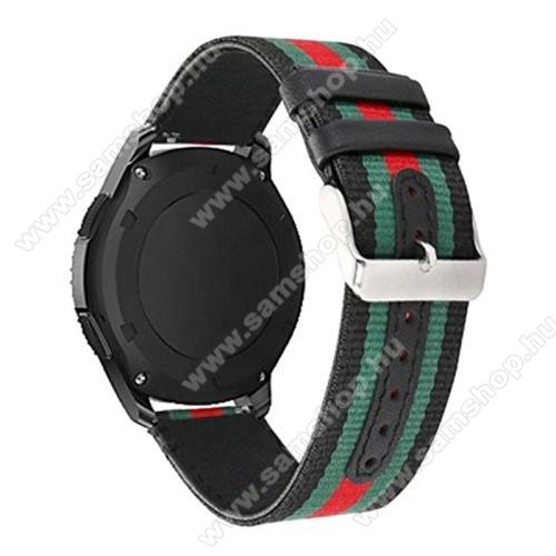 Okosóra szíj - szövet - FEKETE / ZÖLD / PIROS - 22mm széles - SAMSUNG Galaxy Watch 46mm / SAMSUNG Gear S3 Classic / SAMSUNG Gear S3 Frontier