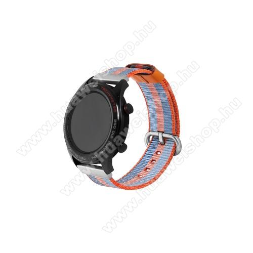 HUAWEI Watch 2 ProOkosóra szíj - szövet - KÉK / NARANCS - 113mm + 81mm hosszú, 20mm széles - HUAWEI Watch GT / HUAWEI Watch Magic / Watch GT 2 46mm