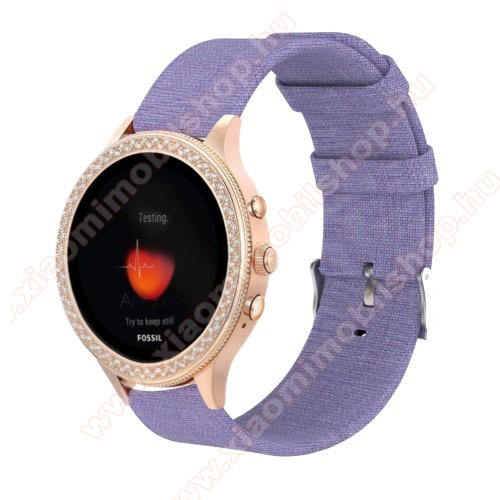 Xiaomi Mi WatchOkosóra szíj - szövet - LILA - 115 + 90mm hosszú, 18mm széles - Xiaomi Mi Watch / Fossil Gen 4 / HUAWEI TalkBand B5
