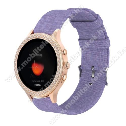 Okosóra szíj - szövet - LILA - 115 + 90mm hosszú, 18mm széles - Xiaomi Mi Watch (For China Market) / Fossil Gen 4 / HUAWEI TalkBand B5