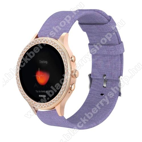 Okosóra szíj - szövet - LILA - 115 + 90mm hosszú, 18mm széles - Xiaomi Mi Watch / Fossil Gen 4 / HUAWEI TalkBand B5