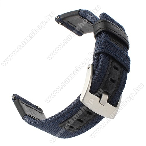 Okosóra szíj - szövet, műbőr - 85 + 102mm hosszú, 22mm széles - SÖTÉTKÉK - SAMSUNG Galaxy Watch 46mm / SAMSUNG Gear S3 Classic / Gear S3 Frontier / Honor MagicWatch 2 46mm