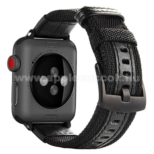 APPLE Watch Series 3 38mm Okosóra szíj - szövet, műbőr - FEKETE - 145mm-től 200mm-es méretű csuklóig - Apple Watch Series 1/2/3 - 38mm