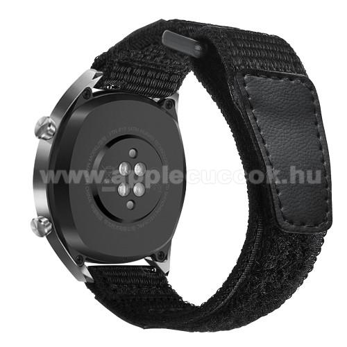 Okosóra szíj - szövet, műbőr, tépőzáras - FEKETE - 180mm + 40mm hosszú, 22mm széles - SAMSUNG Galaxy Watch 46mm / SAMSUNG Gear S3 Classic / Gear S3 Frontier / Honor MagicWatch 2 46mm