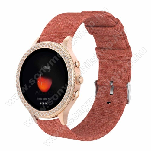Okosóra szíj - szövet - NARANCSSÁRGA - 115 + 90mm hosszú, 18mm széles - Xiaomi Mi Watch / Fossil Gen 4 / HUAWEI TalkBand B5