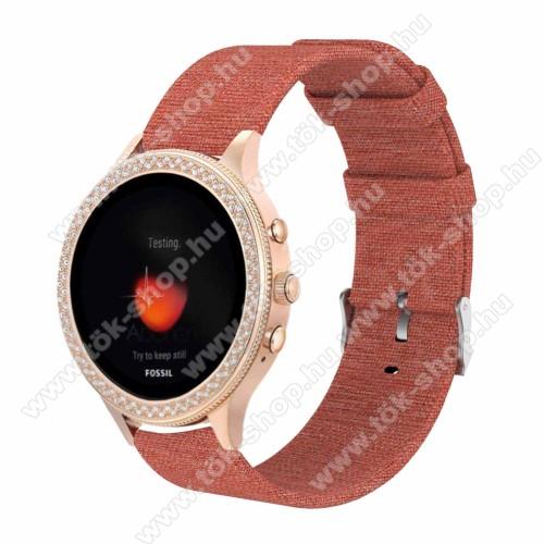 Okosóra szíj - szövet - NARANCSSÁRGA - 115 + 90mm hosszú, 18mm széles - Xiaomi Mi Watch (For China Market) / Fossil Gen 4 / HUAWEI TalkBand B5