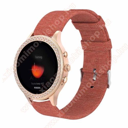 Xiaomi Mi WatchOkosóra szíj - szövet - NARANCSSÁRGA - 115 + 90mm hosszú, 18mm széles - Xiaomi Mi Watch / Fossil Gen 4 / HUAWEI TalkBand B5