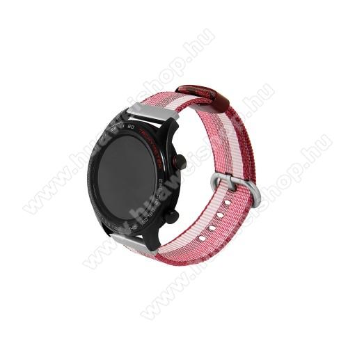 HUAWEI Watch 2 ProOkosóra szíj - szövet - PIROS / FEHÉR - 113mm + 81mm hosszú, 20mm széles - HUAWEI Watch GT / HUAWEI Watch Magic / Watch GT 2 46mm