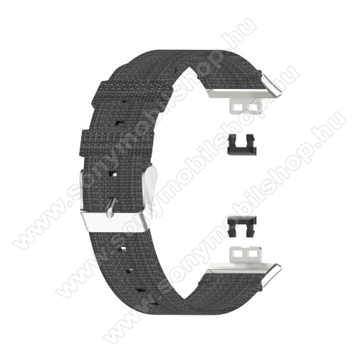 Okosóra szíj - szövet - SÖTÉTSZÜRKE - 117 + 92mm hosszú - HUAWEI Watch Fit