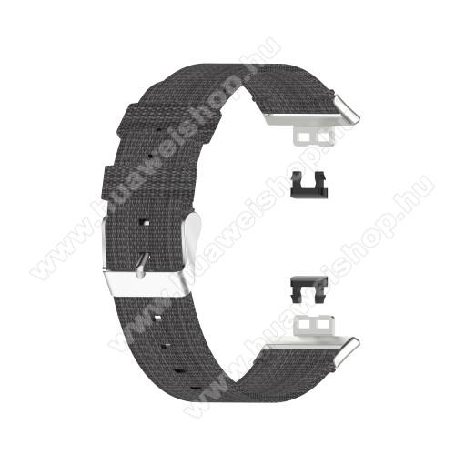 Okosóra szíj - szövet - SÖTÉTSZÜRKE - 117 + 92mm hosszú, 22.5mm széles - HUAWEI Watch Fit