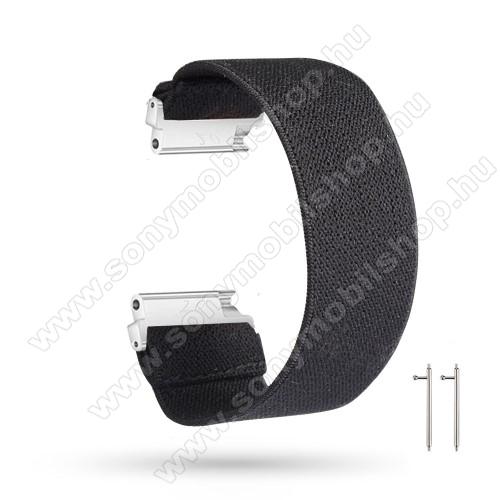 Okosóra szíj - szövet, sztreccses, 145mm hosszú, 20mm széles, 160mm-től 210mm-es méretű csuklóig ajánlott - FEKETE - SAMSUNG Galaxy Watch 42mm / Amazfit GTS / HUAWEI Watch GT 2 42mm / Galaxy Watch Active / Active 2