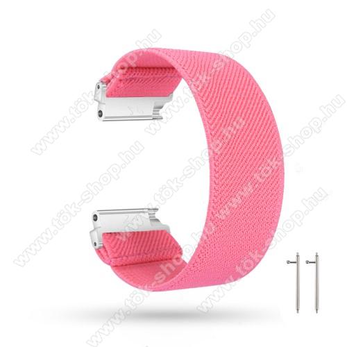 Okosóra szíj - szövet, sztreccses, 145mm hosszú, 20mm széles, 160mm-től 210mm-es méretű csuklóig ajánlott - RÓZSASZÍN - SAMSUNG Galaxy Watch 42mm / Amazfit GTS / HUAWEI Watch GT 2 42mm / Galaxy Watch Active / Active 2