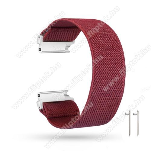 EVOLVEO SPORTWATCH M1SOkosóra szíj - szövet, sztreccses, 145mm hosszú, 20mm széles, 160mm-től 210mm-es méretű csuklóig ajánlott - BORDÓ - SAMSUNG Galaxy Watch 42mm / Amazfit GTS / HUAWEI Watch GT 2 42mm / Galaxy Watch Active / Active 2
