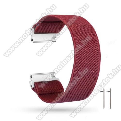 WOTCHI SmartWatch W22SOkosóra szíj - szövet, sztreccses, 145mm hosszú, 20mm széles, 160mm-től 210mm-es méretű csuklóig ajánlott - BORDÓ - SAMSUNG Galaxy Watch 42mm / Amazfit GTS / HUAWEI Watch GT 2 42mm / Galaxy Watch Active / Active 2