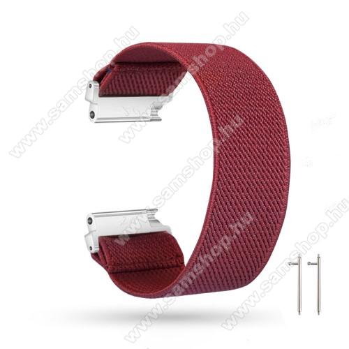 SAMSUNG Galaxy Watch Active2 44mmOkosóra szíj - szövet, sztreccses, 145mm hosszú, 20mm széles, 160mm-től 210mm-es méretű csuklóig ajánlott - BORDÓ - SAMSUNG Galaxy Watch 42mm / Amazfit GTS / HUAWEI Watch GT 2 42mm / Galaxy Watch Active / Active 2
