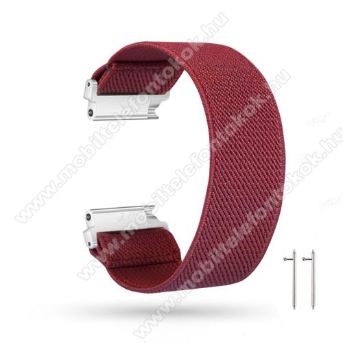 Okosóra szíj - szövet, sztreccses, 145mm hosszú, 20mm széles, 160mm-től 210mm-es méretű csuklóig ajánlott - BORDÓ - SAMSUNG Galaxy Watch 42mm / Amazfit GTS / HUAWEI Watch GT 2 42mm / Galaxy Watch Active / Active 2