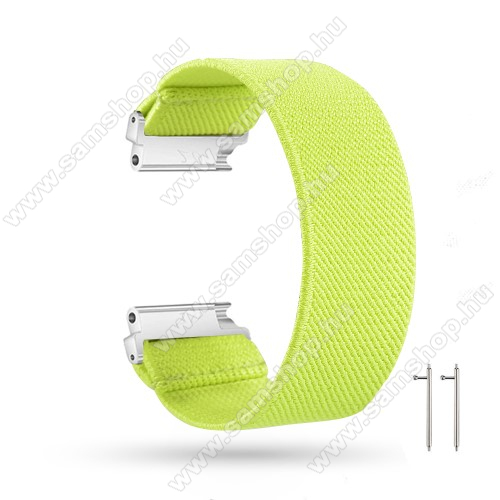 Okosóra szíj - szövet, sztreccses, 145mm hosszú, 20mm széles, 160mm-től 210mm-es méretű csuklóig ajánlott - SÁRGÁSZÖLD - SAMSUNG Galaxy Watch 42mm / Amazfit GTS / HUAWEI Watch GT 2 42mm / Galaxy Watch Active / Active 2